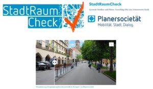 Startseite der Seite Stadtraumcheck.de. Mit Logos der Planersocietät, des Stadtraumchecks und einem Schiebebild, das eine Vorher-Nachher-Situation zeigt
