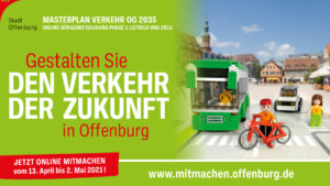 Grafik zum Masterplan Verkehr in Offenburg mit einem Bus, einem Radfahrer, einer Fußgängerin und einem Auto. Aufforderung: Gestalten Sie den Verkehr der Zukunft