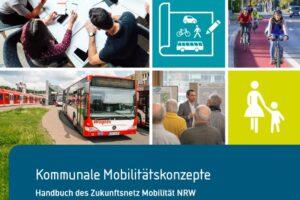 Das Deckblatt des Handbuchs Kommunale Mobilitätskonzepte zeigt einen Bus, radfahrer, stilisierte Fußgänger und Konferenzsituationen
